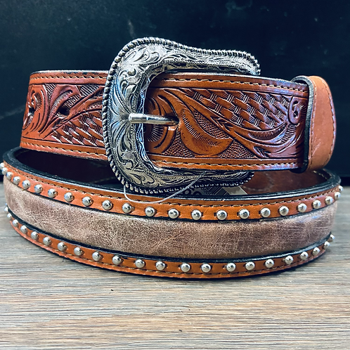 Brown Belt with White Laces & Studs