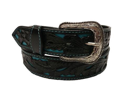 OK Corral Black & Turquoise Carved Floral Belt