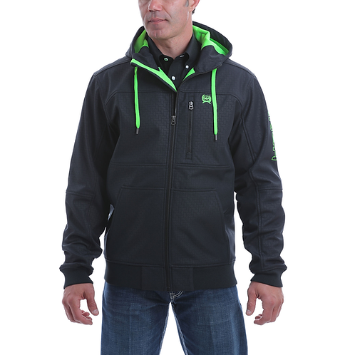 Men's Cinch Black Jacket with Lime Green Lining