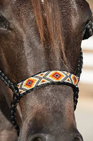ProfChoice Beaded Nose Cowboy Braided Halter w/10' Lead - Black&Orange