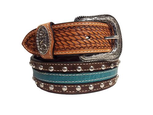 OK Corral Basket Weave Teal Studded Belt