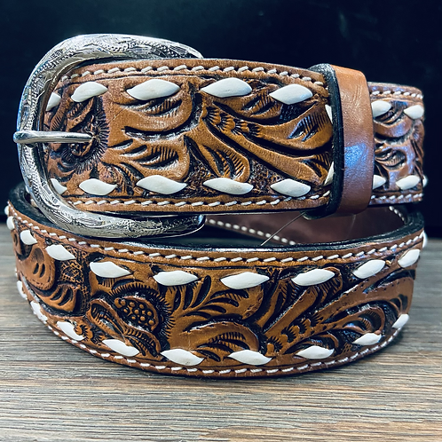 Floral Tooled Belt with White Buckstitch