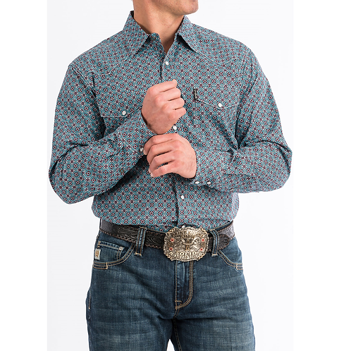 Cinch Blue Modern Print Western Shirt