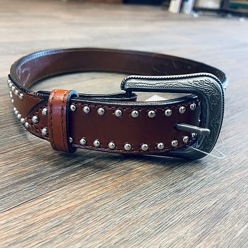 Kid's Faux Ostrich Studded Belt - Mohagony