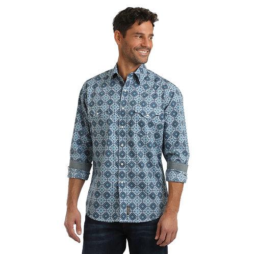Wrangler Blue & White Retro Print Western Shirt