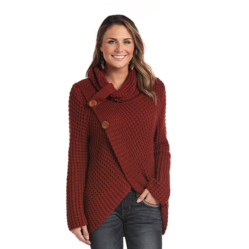 Panhandle Burgundy Knit Cowl Sweater