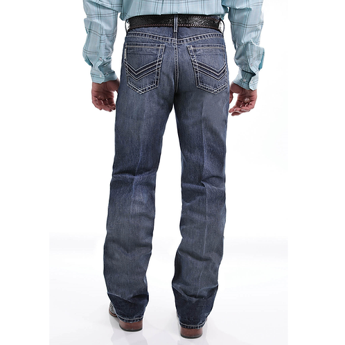 Cinch Grant Dark Stone Jeans with Zipper Stitch