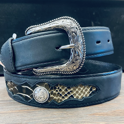 Black Belt with Snake Inlay