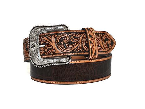 Ariat Brown Croc Turquoise Stone Belt