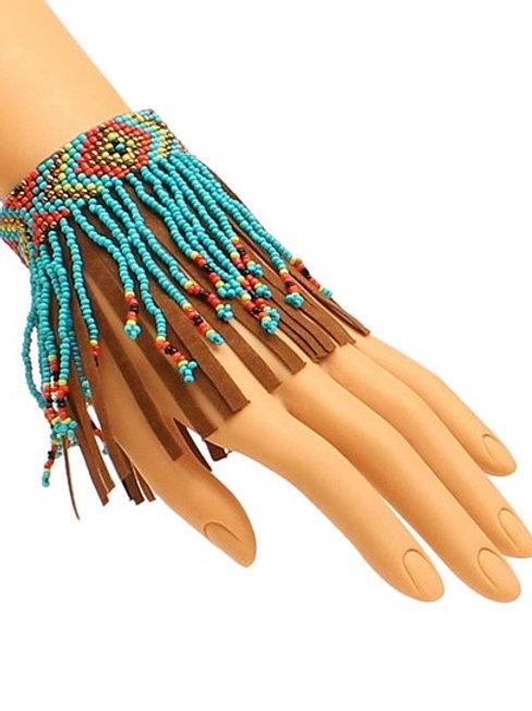Blazin Roxx Turquoise Fringe Beaded Anklet/Bracelet