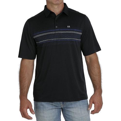 Men's Cinch ArenaFlex Polo - Black with Navy Stripe