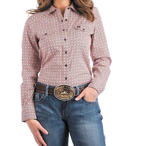 Ladies Cinch Pink Diamond Pattern Western Shirt