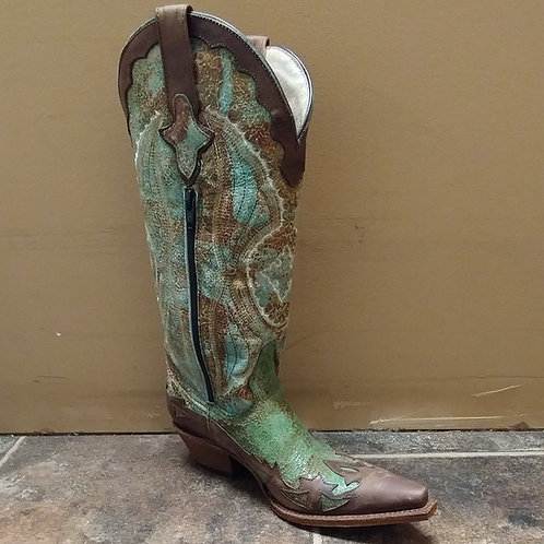 Cavelia Chocolate & Turquoise Distressed Boots with Zip