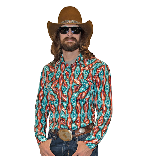 Panhandle & Dale Brisby Teal Orange Aztec Western Shirt