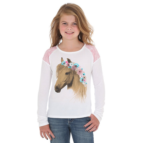 Wrangler Cream & Pink Lace Horse Graphic Top