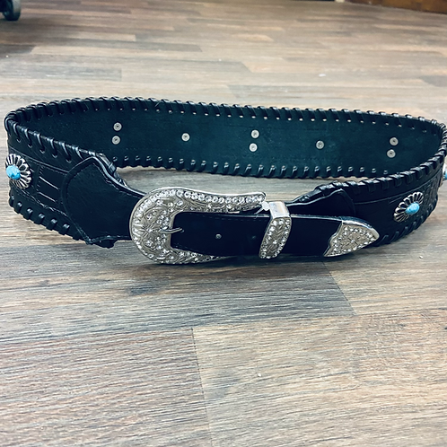 Ladies Black Laced Wide Fashion Belt