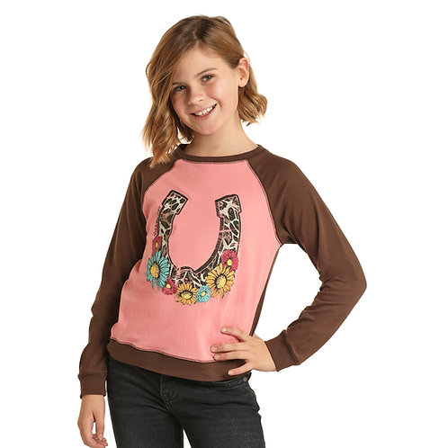 Girl's Panhandle Pink & Brown Long Sleeve with Leopard Horseshoe and Sunflowers