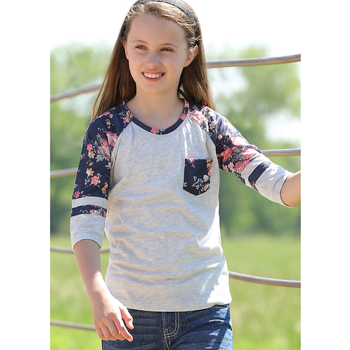 Girls Cinch Beige Floral Football Tee