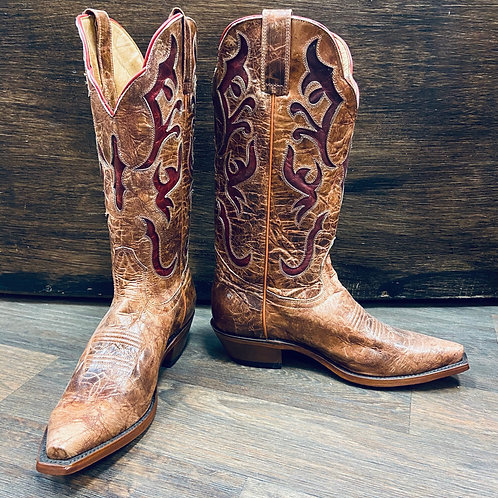 Rugged Country Tan With Red Cutouts Boots