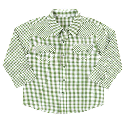 Wrangler Infant Olive Plaid Western Shirt