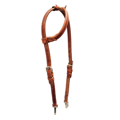 TN Plain Saddle Brown One Ear Headstall /w Snaps
