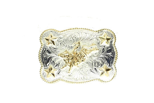 And West Two Tone Bucking Bull Kids Buckle