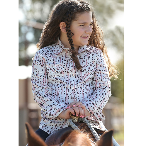 Cinch Pink Aztec Diamond Western Shirt