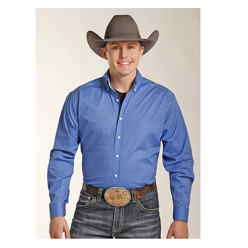 Panhandle Competition Blue Poplin Western Shirt