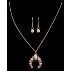 Copper and Ivory Squash Blossom Earring and Necklace Set