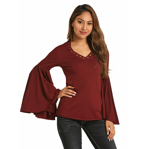 Panhandle Wine Bell Sleeve Top