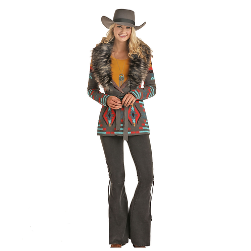 Ladies Powder River Outfitters Grey Aztec Cardigan with Removable Faux Fur