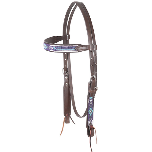 Cashel Chocolate Beaded Browband - Purple & White
