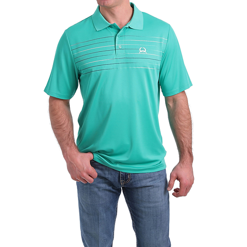 Cinch Teal Striped Arenaflex Polo Shirt