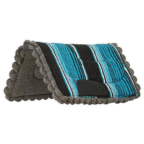 """Weaver Scalloped Navajo 23x23"""" Pony Pad - Blue"""