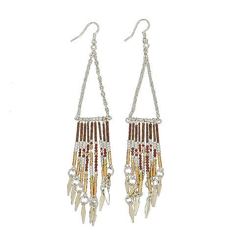 Blazin Roxx Beaded Triangle Dangle Earrings