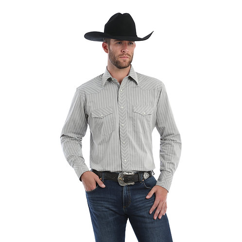 Wrangler Grey Pin Stripe Western Shirt