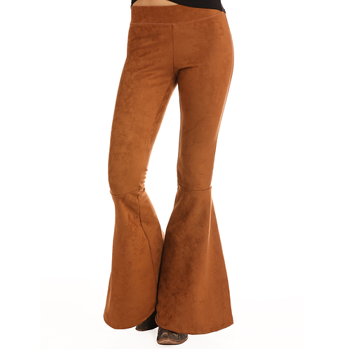 Rock & Roll Camel Suede Bellbottom Leggings