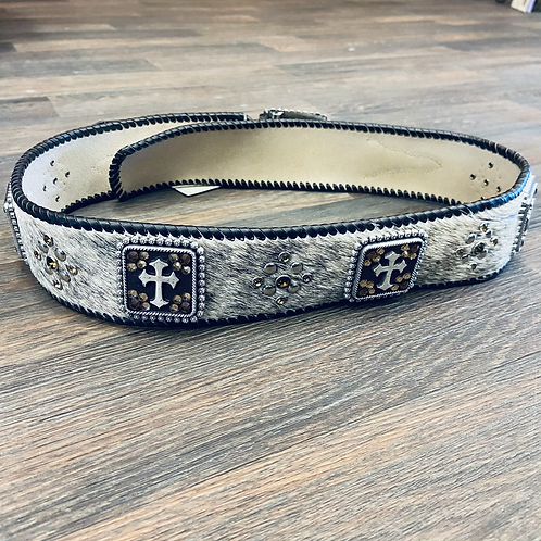 Ladies Cow Hair On  Belt With Square Cross Conchos