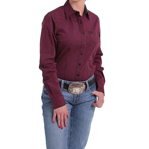 Cinch Burgundy & Black Pin Stripe Western Shirt with Black Arrow Cuffs