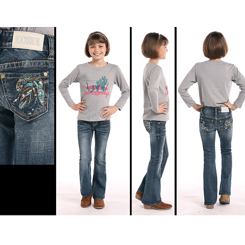 Rock & Roll Denim Bronze & Turquoise Feather Jeans