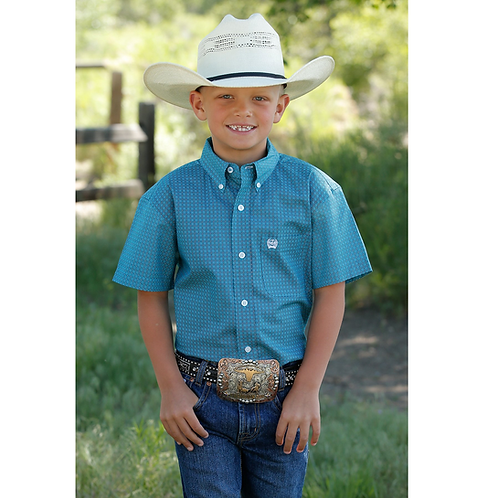 Boy's Cinch Teal and White Short Sleeve Western Shirt