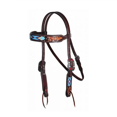 Professional's Choice Blue Beaded Headstall