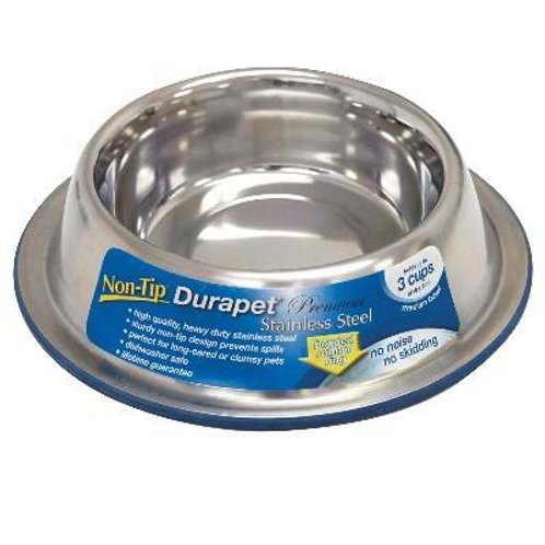 Durapet Stainless Steel Non Tip Bowl - Medium