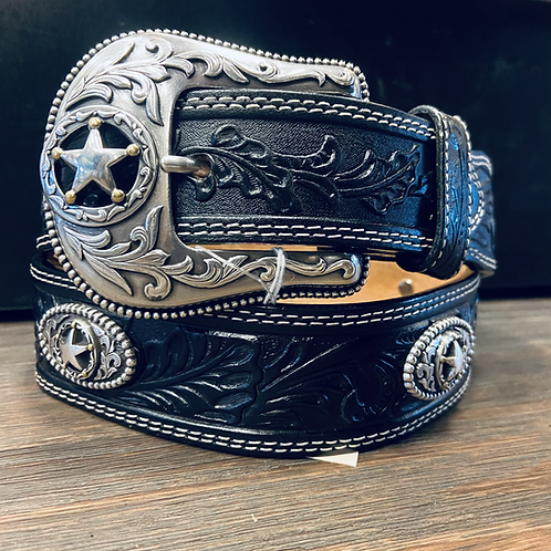 Black Tooled Belt with Star Conchos