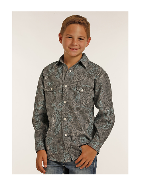 Rock & Roll Cowboy Sky Grey Paisley Western Shirt