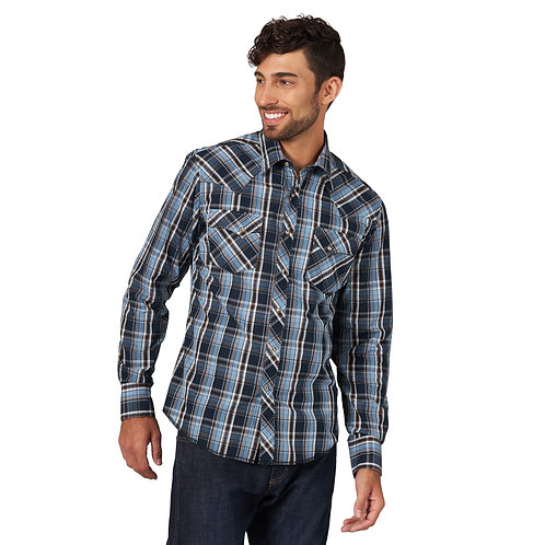 Wrangler Blue & Brown Plaid Easy Care Western Shirt