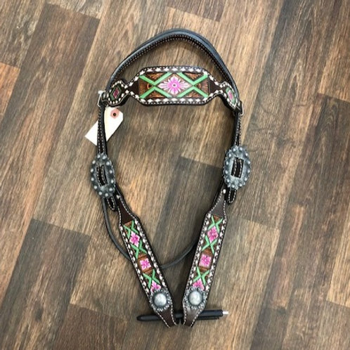 Painted Floral White Buckstitch Headstall