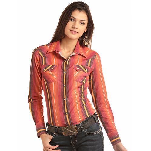 Panhandle Orange Vertical Serape Western Shirt