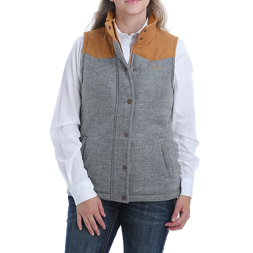 Ladies Cinch Grey & Mustard Tweed Vest