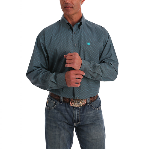 Men's Cinch Smoke Grey Western Shirt with Turquoise Accemts
